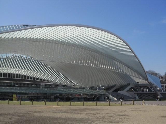 Santiago Calatrava's Liege-Guillemins TGV Railway Station in Liege Belgium