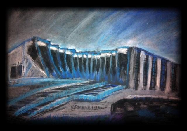 John Curtain School of Medical Research, Pastel Sketch