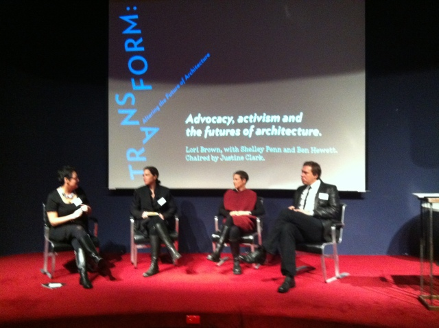 One of the many discussion Panels at the event Transform: Altering the Future of Architecture