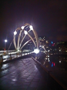 The journey home at conference end (Seafarer's Footbridge by Grimshaw Architects)