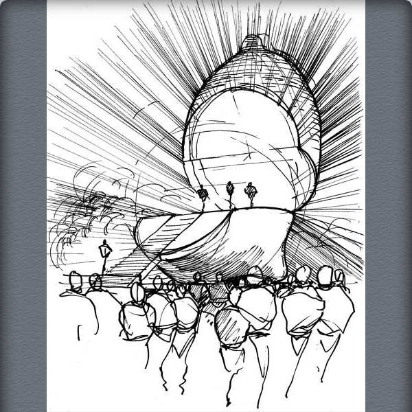 Mark Fisher's sketch of the Popmart mirror ball lemon