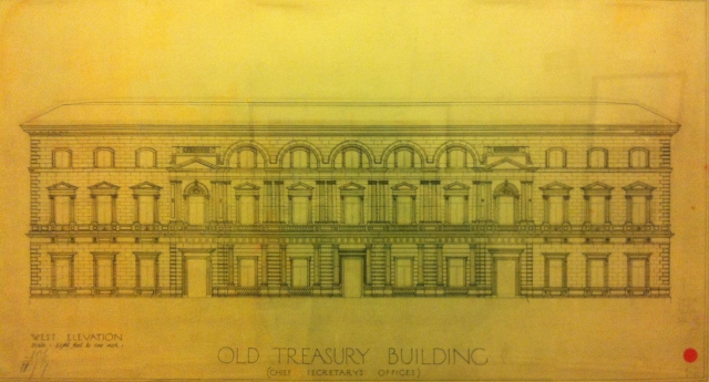 Architectural elevation by Architect  John James Clark on display within