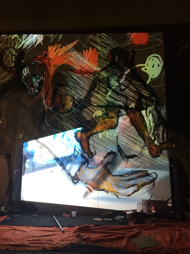 Draw / Delay saw traditional drawing artwork colide with multimedia to create a performance piece