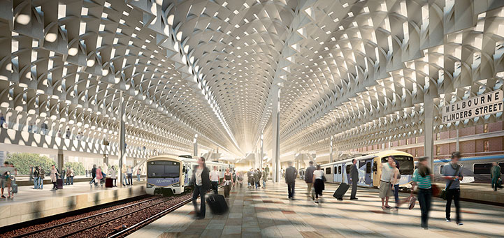 Winning Flinders Street Station Design Competition proposal by Hassell and Herzog De Meuron