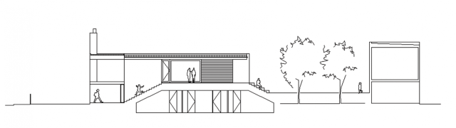 Upside Down House section, Kerstin Thompson Architects