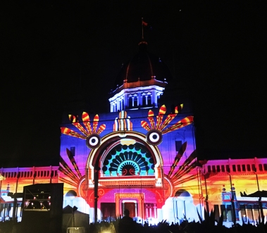 The Royal Exhibition Building annomated with 'Rhythms Of The Night' by White Night & Artists In Motion